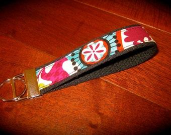 Fabric Key Fob, Key Chain, Wristlet~ Funky Paisley