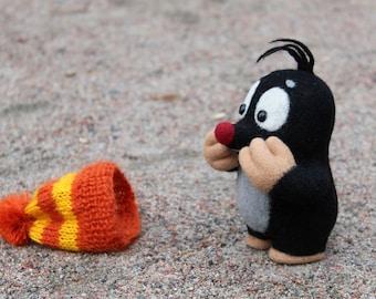 Needle felted Little MOLE. Woollen Mole Toy.  KRTEK toy. LEGEND Mole. Czech Mascot. Felted Toy.