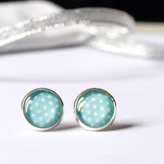 Small Blue Earrings: Blue Children Studs Earrings Small Size Cabochon Earrings