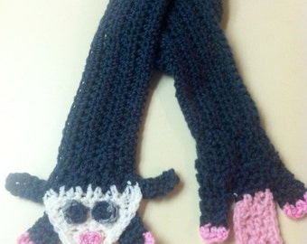 Gray, white, and pink crochet possum scarf