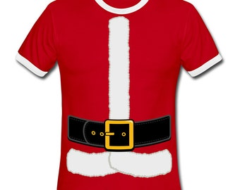 Christmas Santa Claus Costume T-shirt on American Apparel Ringer