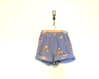 Floral Chambray Cotton Shorts