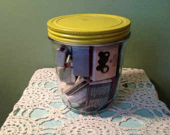 Vintage Glass Jar with Matchbox Collection
