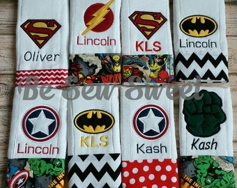 Personalized Superhero themed  burp cloths