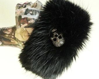 Rhinestone Skull on Black Headband/ Neckwarmer / Earwarmer Handmade in Lancashire England