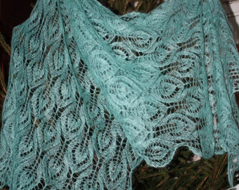 Turquoise Leaves- Lace Hand Knitted Shawl