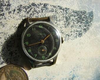 Vintage Soviet USSR era men Mechanical wrist Wrist WATCH POBEDA Mchz 2 Slava / Vintage russian men's watch 1950's / collectible watch