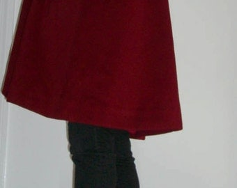 Vintage Red Wool Buttonless Swing Coat - Size 8P