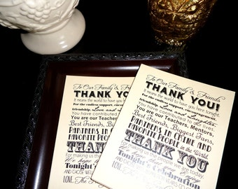Wedding Thank You Reception Card Place Setting - Set of 100