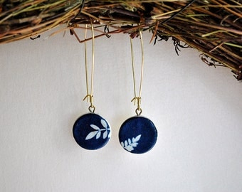 Leaves / Clay earrings and cyanotype (old photographic process)