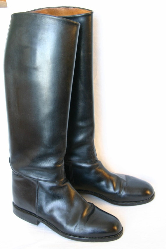 60s Black Leather Riding Boots Equestrian Long Victorian