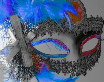 """Original photo """"Mystique"""". Sizes 8x10, 11x14, 16x20, 20x30 inch, dramatic, colourful photo, theatre lovers gift, Mardi Gras mask,party mask"""