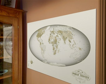 World Travel Map in Sage Colors, Discover the World with this Unique Large 24x36 World Art Map on Foam Board, Push Pin World Map