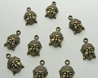 10 Antique Bronze Buddha Charms 22mm