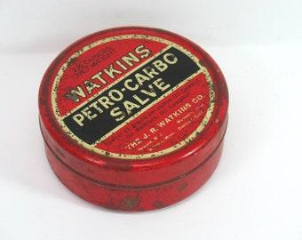 Watkins Tin Petro Salve Red Tin Medicinal Advertising J R Watkins Company USA Collectible Tins