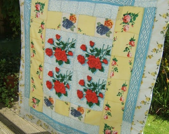 Mid Century Patchwork Quilt, Retro Bed Cover, Eiderdown, Sofa Throw with Large 1950s Red Roses