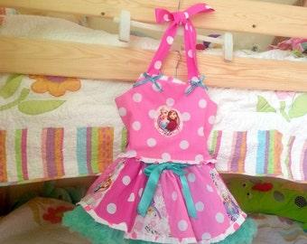 REDUCED 50% off*ooak handmade frozen elsa summer dress . casual pageant custom boutuqe 4 5 tutu pettiskirt
