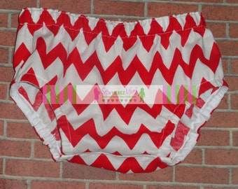 Red Chevron Diaper Cover in Sizes Newborn, 3-6 mos, 12 mos, 18 mos, 24 mos