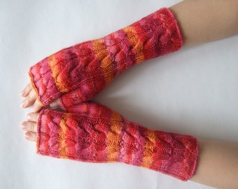 SALE: handmade RED, pink , BURGUNDY, orange ( multicolor ) fingerless gloves, wrist warmers, fingerless mittens. Knitted of union cloth.