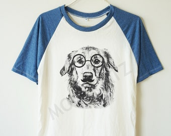 Glasses dog shirt dog shirt glasses shirt funny shirt animal shirt baseball shirt short sleeve women shirt men shirt women tshirt men tshirt