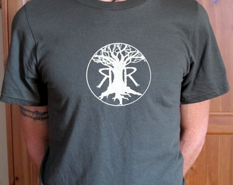 Ray's Rootworks T-shirt,100 percent. organic Cotton, tree logo.