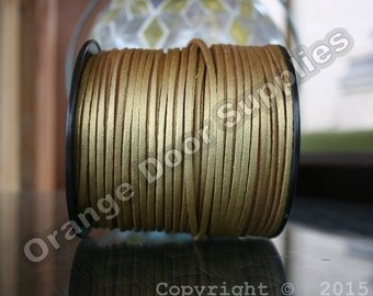 Gold 20 Feet Faux Leather Smooth Side Cord 3 x 1.5 mm-  (303)