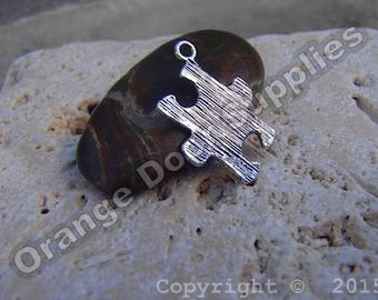Antique Silver Autism Awareness Puzzle Piece Charm 23mmx17mm- 10Pcs (ASD 116)