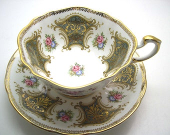 Paragon Green tea cup and saucer set, Grren and Gold Paragon Tea cup And Saucer, Gold filigree on Moss Green  teacup set with flowers,