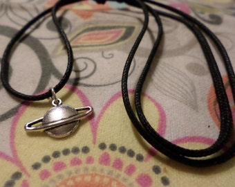 Saturn Necklace, Saturn Choker, Choker Necklace, Charm Necklace, Charm Choker, Saturn