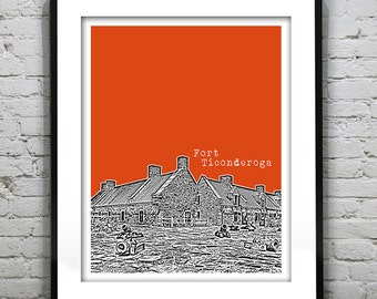 1 Day Only Sale 10% Off - Fort Ticonderoga New York Poster Print Art Skyline NY