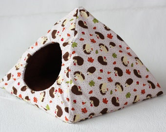 "cuddle tent/cosy hut ""hedgehog"" with hazelnut brown fleece for guinea pigs"