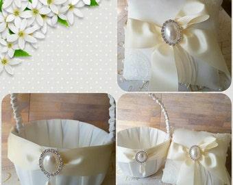 Ivory satin lace pearl rhinestone  wedding basket, garter, pillow,  bride, flower girl basket, ring bearer pillow set lot