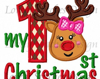 My 1st Christmas For Girls Applique Machine Embroidery Design NO:0281