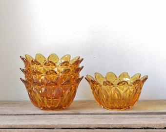 Vintage Amber Glass Dessert Bowls - Set of Four