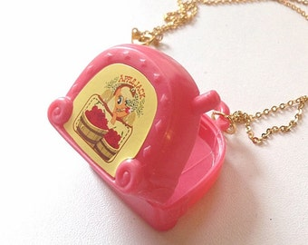 Upcycled pony suitcase necklace, pink suitcase, repurposed necklace