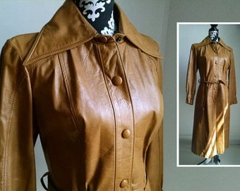 Vintage Brown Leather Deer Skin Trench Coat - size 13