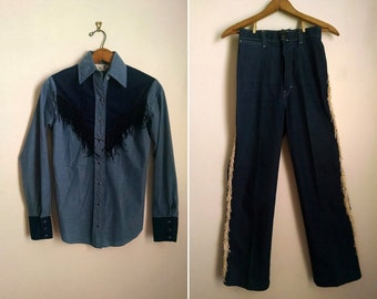 Vintage Denim Western Wear Rodeo Two-Piece Outfit
