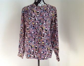 Abstract Black and Fuchsia Geometric Pattern Blouse - Medium 6