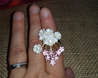Pink and white flower ring. Repurposed from old vintage jewelry.