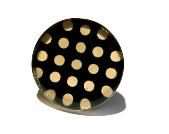 Black POLKA DOT RING - white polka dot ring - delicate jewelry - spring fashion - black and white - jewelry gift for her
