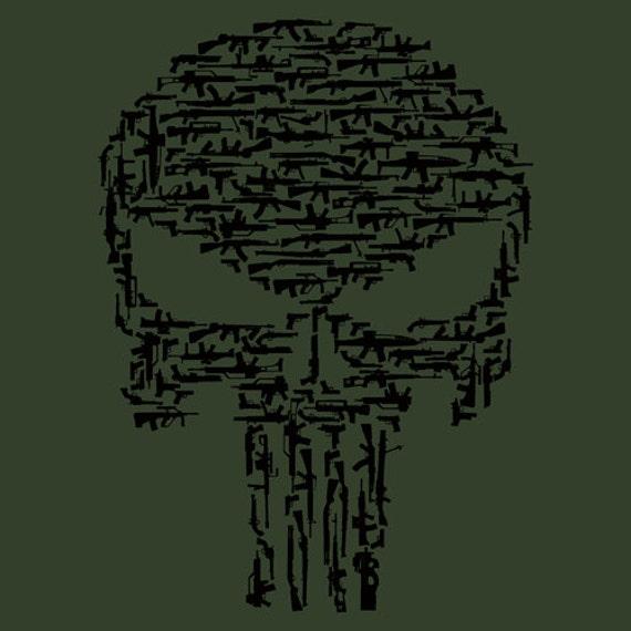 Punisher shirt military green short sleeve gun shirt like this item publicscrutiny Gallery