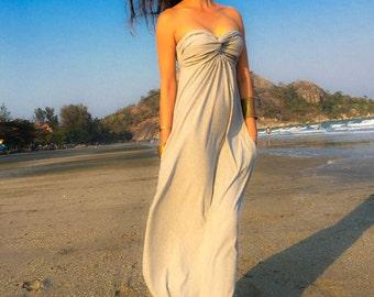 Gray Strapless long maxi Sun dress all size