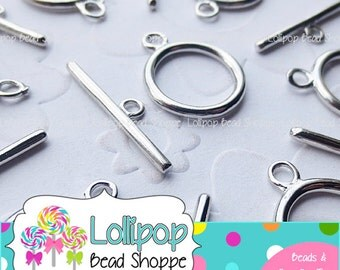 Shiny Silver Plain ROUND Toggle Silver Tone Round Toggle Clasps 18mm x 14mm Silver Plated Toggle Closure DIY Jewelry Findings