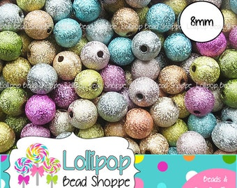 8mm STARDUST Beads Sparkly Acrylic Round Sparkle Beads Glitter Bling Beads MIX Spacers Bubblegum Beads Bottlecap Beads Bottle Cap Beads