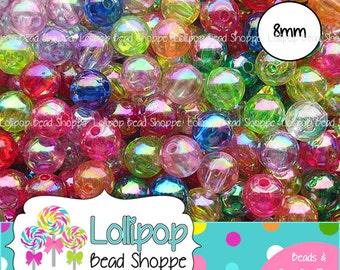 8mm AB Transparent Acrylic Beads Iridescent Beads Round Plastic Beads 50 Mixed Clear Rainbow Gumball Beads Bubblegum Beads Bottle Cap Beads
