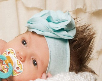 Beautiful Jersey knit flower headband-- Newborn to 2 years old-- 25 colors available       color shown is Robin's Egg Blue