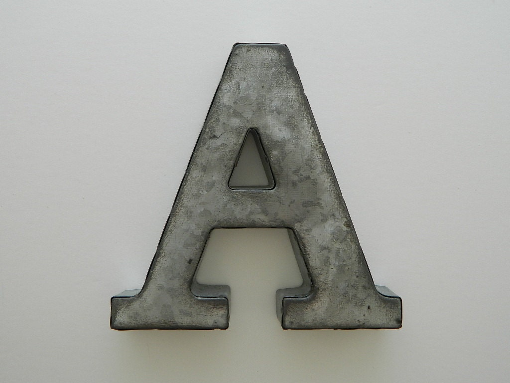 small letter a galvanized metal wall decor by cubbiesroom. Black Bedroom Furniture Sets. Home Design Ideas