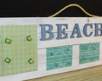 Beach Themed Magnetic Memo Board - Whitewashed wood - Magnetic Wall Board