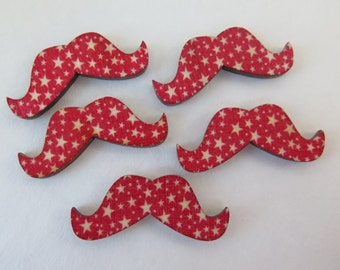 Wood Buttons - Mustache Buttons - 5 pieces -  Red with White Stars - 38x15mm - WMB3