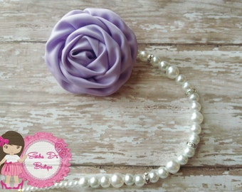 Satin Lt.purple  Pearl pacifier holder